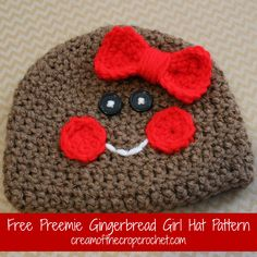 Cream Of The Crop Crochet ~ Preemie/Newborn Gingerbread Girl Hats {Free Crochet Pattern}