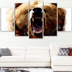 Design Art 'Warning Roar' Canvas Art Print - 60Wx32H Inches - 5 Panels