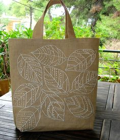 Hand embroidered jute tote bag chic handmade eco by Apopsis, Japanese Embroidery, Hand Embroidery, Jute Tote Bags, Linen Bag, Fabric Bags, Handmade Bags, Purses And Bags, Eco Friendly, Stitch