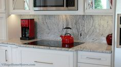 "Full height ""Silver Cloud"" granite backsplash in a remodeled Geneseo, IL #kitchen   