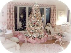 A pink Christmas---I like this idea but I would do it in my favorite color or pick a different color each year!
