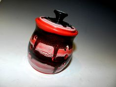 Red Black and White garlic keeper by MarkCampbellCeramics on Etsy