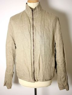 DIRK BIKKEMBERGS MENS BEIGE LINEN and SILK REVERSIBLE JACKET-SIZE 52-USED-EXC #DirkBikkembergs #BomberHarrington
