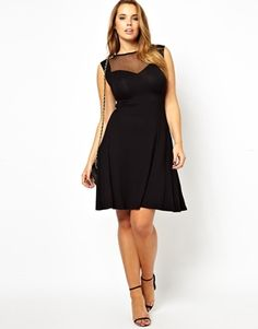 ASOS CURVE Exclusive Skater Dress With Dobby Mesh at asos.com by US Asos on CurvyMarket.com Plus Size