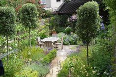 Entertaining space in a garden in Clifton in Bristol surrounded by billowing borders of scented roses and perennials