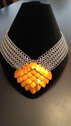 Diamond Dragon Scale Necklace by MistysMetalWorks on Etsy