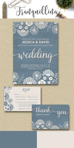 Wedding Invitation Printable, Dusty Blue & Ivory Wedding Invitation Suite, Rustic Wedding Ideas, Modern Wedding Stationery - pinned by pin4etsy.com