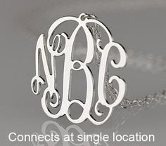 "Sterling Silver Vine Monogram Necklace Range in size from 1""- 2"""