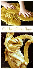 Fun at Home with Kids: Golden Glitter Slime (Borax-Free)...I hate glitter but this looks like a fun treat for kids who like sparkle!