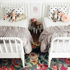 Shared girls room - Millie's new room Big Girl Bedrooms, Little Girl Rooms, Girls Bedroom, Bedroom Ideas, Bedroom Decor, Floral Bedroom, Bedroom Neutral, Bedding Decor, Bedroom Themes