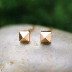 Rose gold pyramid studs elevate the everyday. #etsy