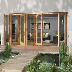 Folding Patio Doors Sliding Glass Door, Sliding Doors, Folding Patio Doors, Outside Patio, Door Sets, Garden Doors, Small Space Gardening, Golden Oak, The Doors