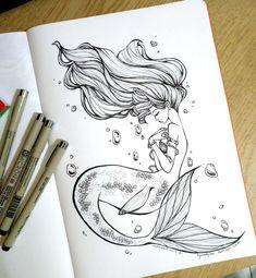 Dark Art Drawings, Pencil Art Drawings, Art Drawings Sketches, Cute Drawings, Tattoo Drawings, Mermaid Artwork, Mermaid Drawings, Mermaid Tattoos, Drawings Of Mermaids