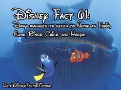 #61 - Dory manages to refer to Nemo as Fabio, Elmo, Bingo, Chico, and Harpo