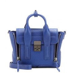 3.1 Phillip Lim Pashli Mini Leather Shoulder Bag ($755) ❤ liked on Polyvore featuring bags, handbags, shoulder bags, blue, blue shoulder bag, real leather purses, miniature purse, leather purse and blue purse