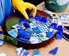 How to make mosaic garden projects. I have the stones,now just need to collect lots of broken china, glass, etc. Anyone have some they don't want?