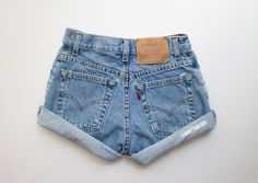 """SALE! ALL SIZES """"Hercules"""" Vintage Levis High Waisted Denim Shorts / Levi Strauss Blue Rolled Cuffed High Waisted Shorts by MintThreads"""