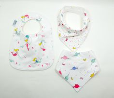 Baby bibs, Set of 3, 2 bandana bibs, 1 feeding bib, Baby bibs, Drool bib,mermaids, under the sea, fits baby through toddler, 100% cotton, by TextileTrolley on Etsy