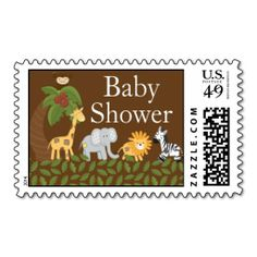 Jungle Safari Animal Neutral Baby Shower Postage. This is customizable to put a personal touch on your mail. Add your photos or text to design your own stamp that can be sent through standard U.S. Mail. Just click the image to try it out!
