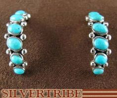 Sterling Silver Jewelry Turquoise Post Hoop Earrings HS33542