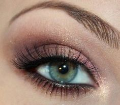 Pair a light pink and sparkles to make your eyes irresistible. Go to Beauty.com for more of your green eyed needs.
