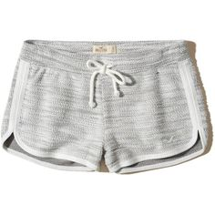 Hollister Textured Curved Hem Icon Shorts (£7.79) ❤ liked on Polyvore featuring shorts, bottoms, short, heather grey, hollister co. shorts, curved hem shorts and short shorts