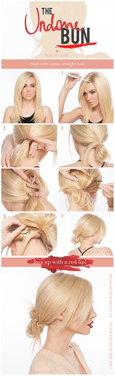 Create an updo with easygoing style!  What you'll need for the Undone Bun hairstyle:   Choose a lace front and monofilament top. (We used a 100% hand-tied Cascade by Ellen Wille) Elastic band (1) Bobby pins (4-6) Comb or brush with a pointed end. (We used the Folding Brush by Revlon) Hairspray