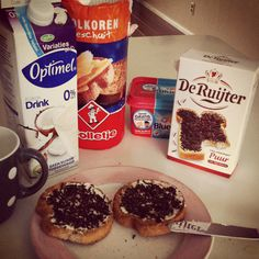 Typical Dutch breakfast. I have this on Sunday mornings, nly it is more chocolate with rusk...I put tons of chocolate on it !!!!
