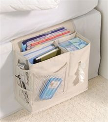 Bedside Storage Caddy is consider a top must have dorm room essential product. Some dorm stuff like our bedside caddy is a real need. Without this convenient products students must jump in and out of bed for the smallest of things. Bedside Organizer, Bedside Caddy, Bedside Storage, Storage Caddy, Camper Storage, Bed Caddy, Hanging Storage, Bedroom Storage, Fabric Storage