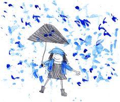 Entre Lápis e Pincéis: Suzy Lee Suzy Lee, Under My Umbrella, It's Raining, Childrens Books, Rain Fall, Drawings, Illustrations, Artists, Colors