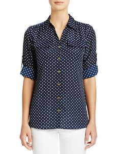 Brands | Collared & Button Down | Polka Dot Roll Sleeve Blouse | Lord and Taylor