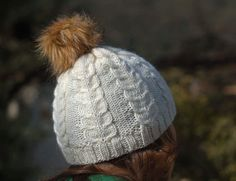 Hand knitted hat by HenriettePro on Etsy Fake Fur, Fur Pom Pom, Cable Knit, Hand Knitting, Knitted Hats, Winter Hats, Wool, Awesome, Handmade