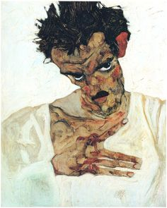"Egon Schiele. ""Self-portrait with his head down, (1912)."""