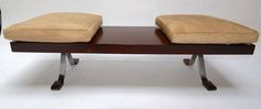 Brazilian Jacaranda Bench with Cowhide Cushions - Mid-Century Modern Benches - Dering Hall