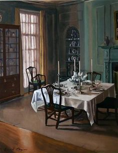 Dining room at Washington House, Gouache  by David Payne, US Department of State, Art in Embassies program, Gift of Marvin Breckinridge Patterson.