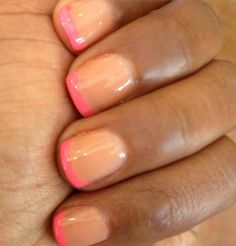 Shellac - Nude/mocha base with highlight pink tips
