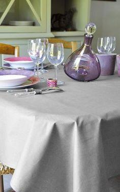 2 coloris disponibles - Stof - Nappe enduite unie LOUVAIN - Coton - Home Beddings and Curtains - 1 Bed Curtains, Table Decorations, Furniture, Home Decor, Tablecloths, Round Tablecloth, Linen Fabric, Decoration Home, Room Decor