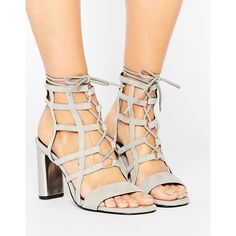 Sol Sana Helen Caged Detail Heeled Sandals (2.775 ARS) ❤ liked on Polyvore featuring shoes, sandals, grey, gray sandals, grey sandals, kitten heel sandals, heeled sandals and cage sandals
