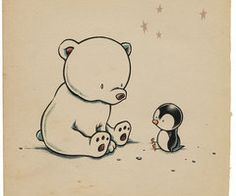 Cute little penguin and polar bear.