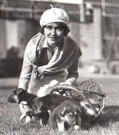 0 Dorothy Sebastian with german shepherd puppies