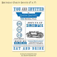 Custom Retro Birthday Anniversary Party Invitation by craftation