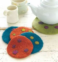 Felt an Easy Crocheted Gift - Felted Trivet + Coasters from Gifted: Lovely Little Things to Knit and Crochet  #PinTeaTuesday