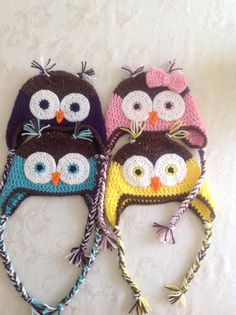 Owl hat - nb to child $15, teen to adult $20 (bow optional $2)
