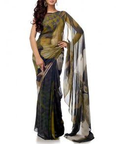 Olive Sari With Digital Print $250