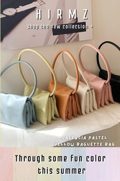 A go-to accessory for the season, this Valencia new style strappy pastel baguette bag is designed with a slouchy silhouette made from vegan leather in a baby blue/pink hue, scaled-down, slightly slouchy, and imbued with light pastel color, this colorful charming handbag has all the makings of a future favorite. Make it perfectly sized to transition from day to night with ease trendy ath-flow fashion style. #pastelyellowpurse #yellowshoulderbag #yellowpocketbook #cutepurse #shoulderbagsforwomen Trendy Purses, Trendy Handbags, Unique Purses, Cute Purses, Purses And Handbags, Yellow Shoulder Bags, Shoulder Purse, Cute Crossbody Purses, School Purse