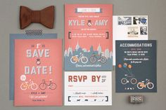 Pink city citylife invitation, bow tie and bicycles