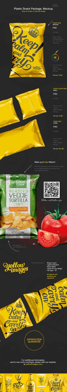 Can be used for Snack Packaging design. Plastic Snack Package. Medium, Large and Small size. Front and Back View.