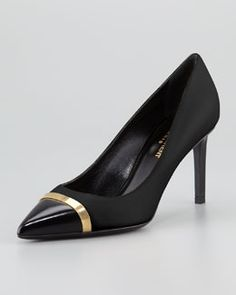 X1N7B Saint Laurent Paris Leather Cap-Toe Pump, Black