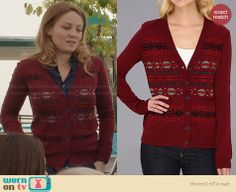 Julia's red patterned cardigan on Parenthood. Outfit Details: http://wornontv.net/28194 #Parenthood #fashion