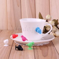 Set of 6 BIRDS Silicone Drink Marker Identifier Cup Wine Glasses Bottle Charms